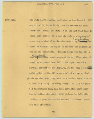 Primary view of object titled '[News Script: Narcotics violators]'.