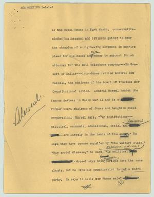 Primary view of object titled '[News Script: ACA meeting]'.