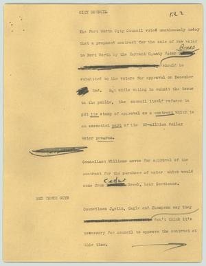 Primary view of object titled '[News Script: City Council]'.