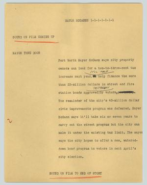 Primary view of object titled '[News Script: Mayor McCannn]'.