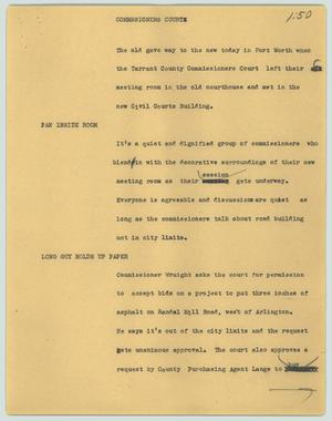 Primary view of object titled '[News Script: Commssioners court]'.