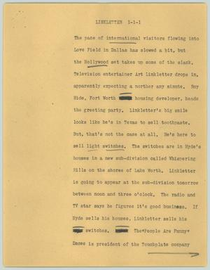 Primary view of object titled '[News Script: Linkletter]'.