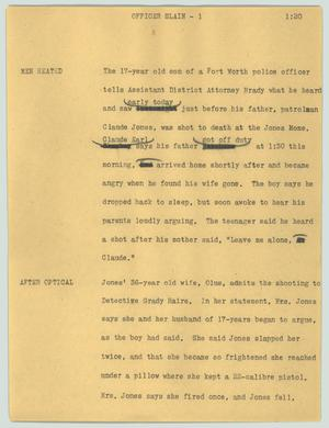 Primary view of object titled '[News Script: Officer slain]'.