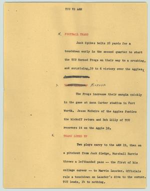 Primary view of object titled '[News Script: TCU vs A&M]'.