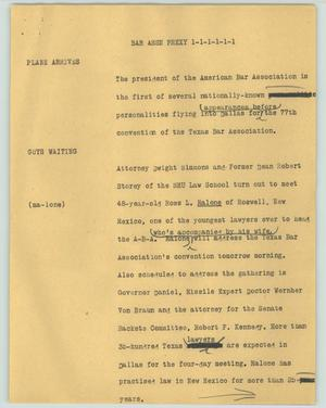 Primary view of object titled '[News Script: Bar assn prexy]'.
