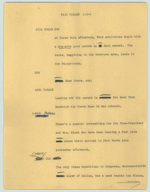 Primary view of object titled '[News Script: Fair parade]'.