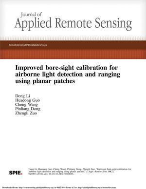 Primary view of object titled 'Improved bore-sight calibration for airborne light detection and ranging using planar patches'.