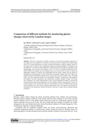 Primary view of object titled 'Comparison of different methods for monitoring glacier changes observed by Landsat images'.