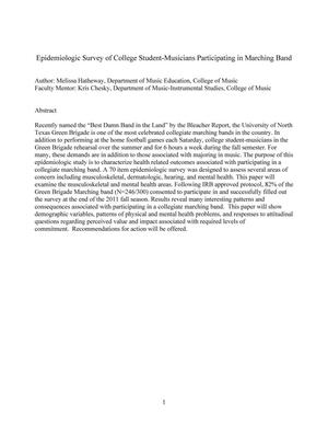 Epidemiologic Survey of College Student-Musicians Participating in Marching Band