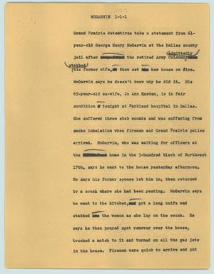 Primary view of object titled '[News Script: McGarvin]'.