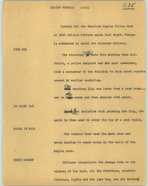 Primary view of object titled '[News Script: Legion vandals]'.