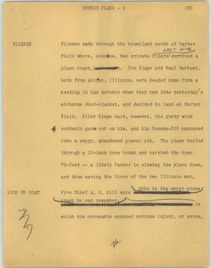 Primary view of object titled '[News Script: Downed plane]'.