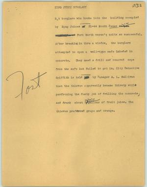 Primary view of object titled '[News Script: King Juice burglary]'.
