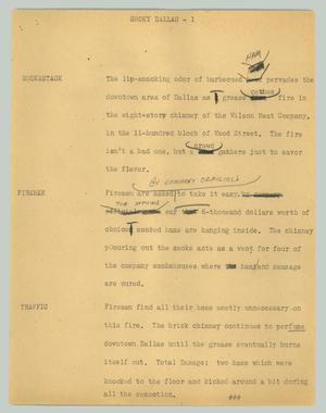 Primary view of object titled '[News Script: Smoky Dallas]'.