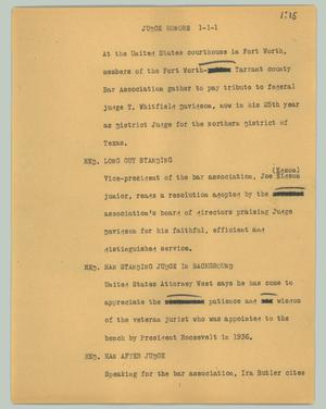 Primary view of object titled '[News Script: Judge honors]'.