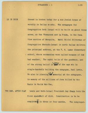 Primary view of object titled '[News Script: Synagogue]'.