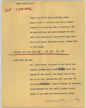 Primary view of object titled '[News Script: Jessie Roach]'.