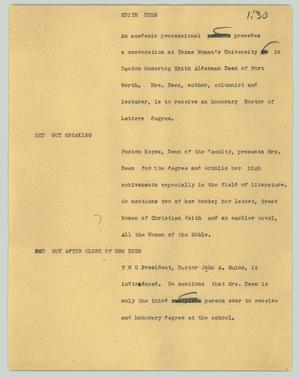 Primary view of object titled '[News Script: Edith Deen]'.