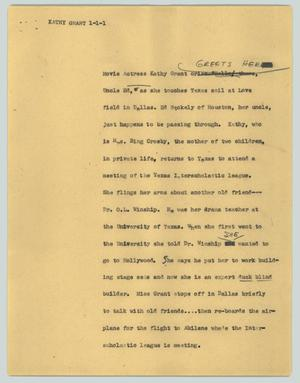 Primary view of object titled '[News Script: Kathy Grant]'.
