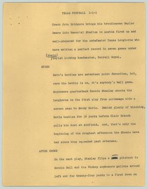 Primary view of object titled '[News Script: Texas football]'.