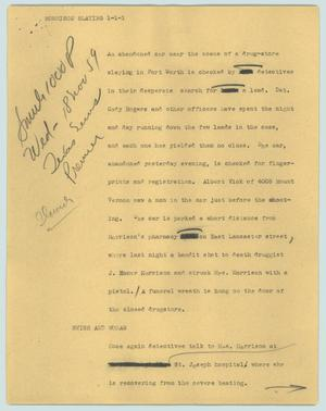 Primary view of object titled '[News Script: Morrison slaying]'.
