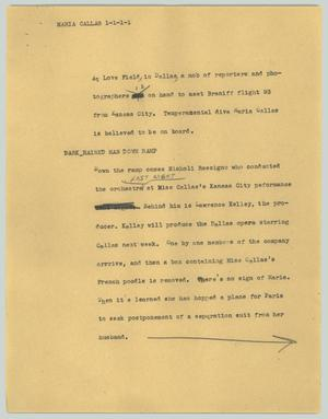 Primary view of object titled '[News Script: Maria Callas]'.