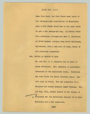 Primary view of object titled '[News Script: Blind man]'.
