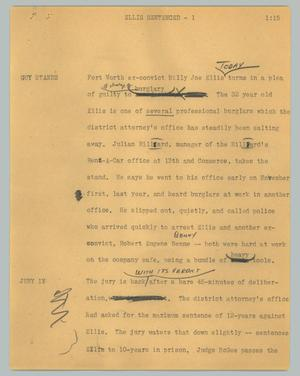 Primary view of object titled '[News Script: Ellis sentenced]'.
