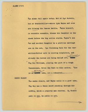 Primary view of object titled '[News Script: Alamo]'.