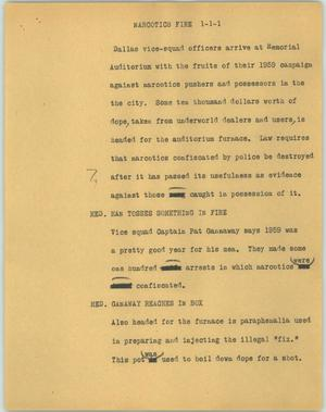 Primary view of object titled '[News Script: Narcotics fire]'.