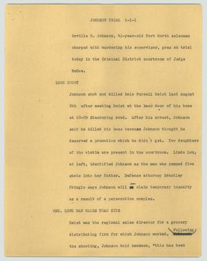 Primary view of object titled '[News Script: Johnson trial]'.