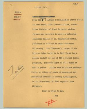 Primary view of object titled '[News Script: Attlee]'.