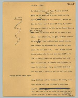 Primary view of object titled '[News Script: Custody fight]'.