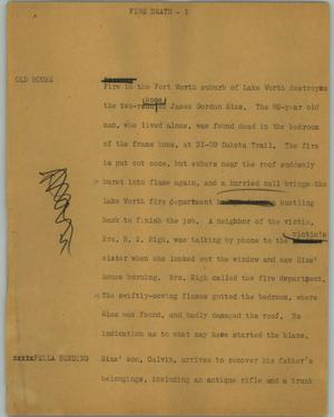 Primary view of object titled '[News Script: Fire Death]'.