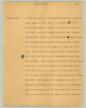 Primary view of object titled '[News Script: Stolen truck]'.
