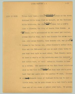 Primary view of object titled '[News Script: Lions meeting]'.