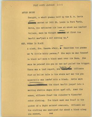 Primary view of object titled '[News Script: Fort Worth jacking]'.