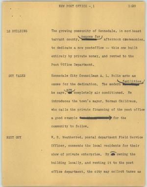 Primary view of object titled '[News Script: New post office]'.