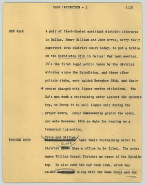 Primary view of object titled '[News Script: Club injection]'.