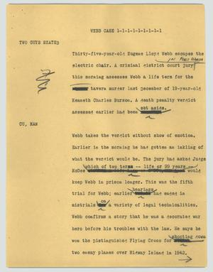 Primary view of object titled '[News Script: Webb case]'.
