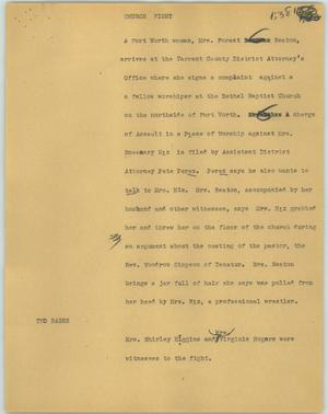 Primary view of object titled '[News Script: Church fight]'.