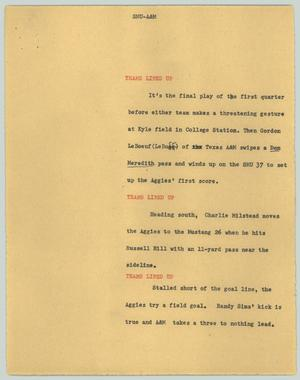 Primary view of object titled '[News Script: SMU-A&M]'.