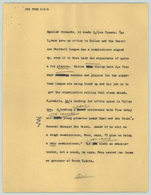 Primary view of object titled '[News Script: Joe Foss]'.