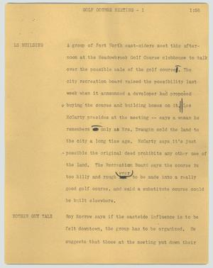 Primary view of object titled '[News Script: Golf course meeting]'.