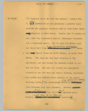 Primary view of object titled '[News Script: Child out window]'.
