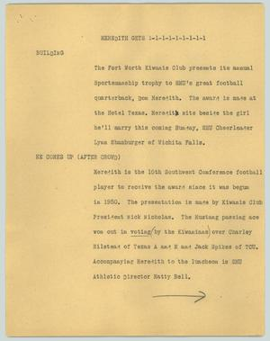 Primary view of object titled '[News Script: Meredith gets]'.
