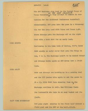 Primary view of object titled '[News Script: SMU-TCU]'.