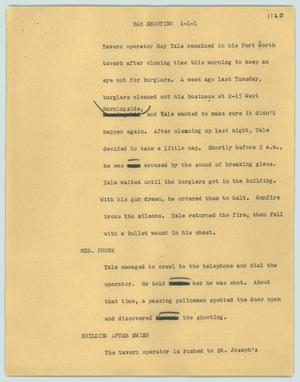 Primary view of object titled '[News Script: Bar shooting]'.
