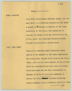 Primary view of object titled '[News Script: Blind]'.