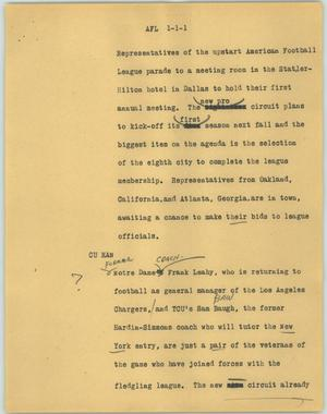 Primary view of object titled '[News Script: AFL]'.